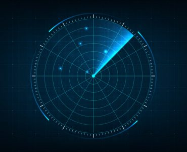 Digital blue realistic radar with targets on monitor in searching. Air search . Military search system . Navigation interface wallpaper . Navy sonar.